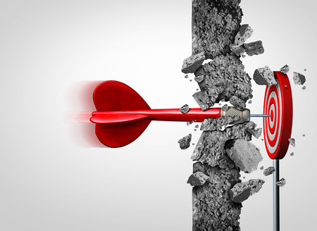 Breaking Through for success without limits and overcoming obstacles as a concrete wall to achieve a goal as a metaphor for a cure or business goals and hitting a financial target with 3D illustration elements.