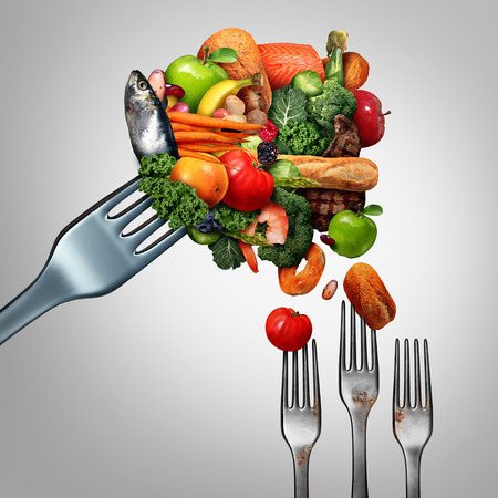generosity: Feed the poor concept as a giant fork with bountiful food feeding smaller dirty forks as a symbol for taking care of the less fortunate and the needy as an act of charity and generosity with 3D illustration elements. Stock Photo