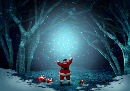 snow forest: Magical santa claus background as a jolly Christmas symbol spreading magic sparkles in a winter forest celebration with snow and copy space with 3D illustration elements. Stock Photo