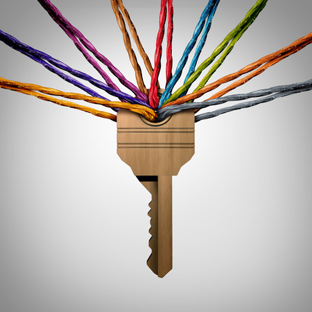tool unlock: Community Key or network password concept as a group of viverse ropes connected to a security symbol as a social protection metaphor for team success support with 3D illustration elements.