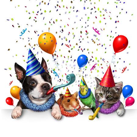 Party huisdier feest en het nieuwe jaar feesten als een groep van huisdieren als een gelukkige hond kat vogel en hamster vieren van een verjaardag of een verjaardagsfeestje met 3D illustratie elementen. Stockfoto