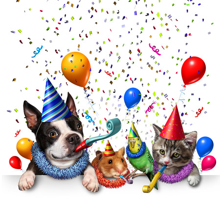 year of the dog: Party pet celebration and new year partying as a group of pets as a happy dog cat bird and hamster celebrating an anniversary or birthday party with 3D illustration elements.