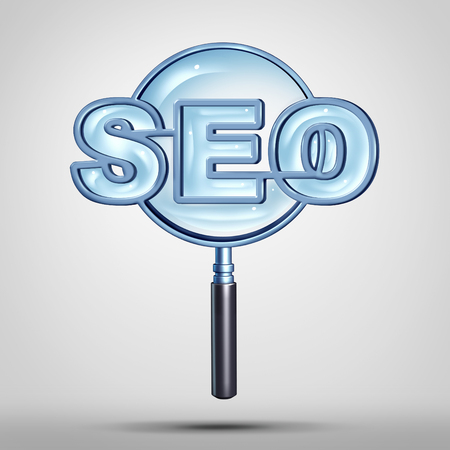 Search engine optimization technology or seo icon as a magnifying glass or loup shaped as text representing an internet data searching solution concept as a 3D illustration.