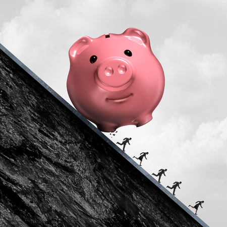 Financial debt pressure and accounting expenses stress as a piggy bank rolling down a hill with people running away in despair with 3D illustration elements.