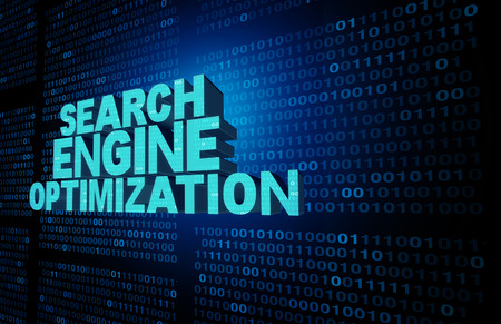 icons site search: Search engine optimization symbol and seo technology background as text representing an internet data searching solution concept on a data background of binary code as a website software icon as a 3D illustration. Stock Photo