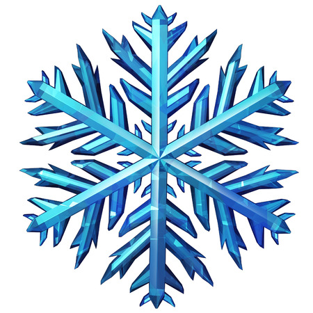 Snowflake icon isolated on a white background as a winter season or festive cold weather symbol as a graphic element as an ornament or decoration for Christmas or new year celebration as a 3D illustration.