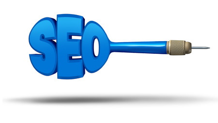 SEO marketing concept as a dart shaped as letters as a symbol for search engine optimization as an internet technology metaphor for hitting the target of online websites as a 3D illustration.