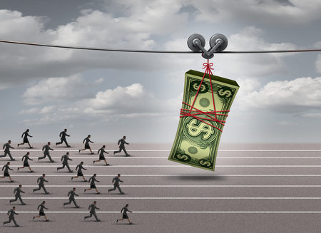 race: Chasing money concept and follow the profit symbol as a group of men and women running after a stack of currency as a financial incentive  or business profiit metaphor with 3D illustration elements.