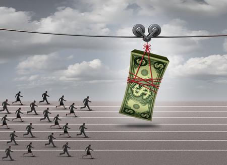 Persiguiendo el concepto de dinero y después del símbolo de la ganancia como un grupo de hombres y mujeres que se ejecuta después de una pila de la moneda como un incentivo financiero o profiit metáfora de negocios con elementos de ilustración 3D.