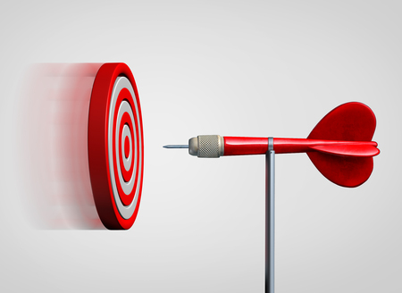 eye 3d: Attract success and business law of attraction strategy as a bulls eye target flying and gravitating towards a  static dart as a metaphor for bringing clients to you as a 3D illustration.