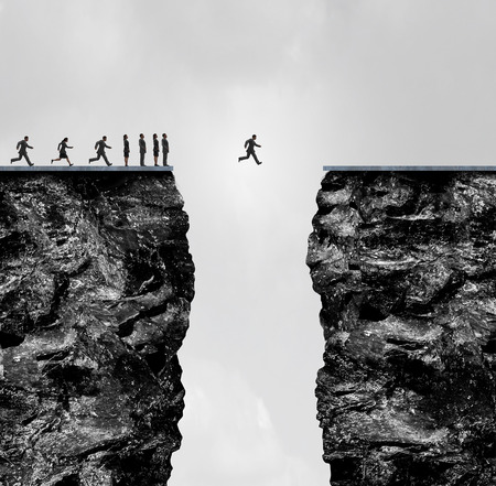 one people: Ignore limitations concept as a business metaphor for incredible confidence and determination to succeed in a 3D illustration style as a group of people stopped at a cliff with one brave individual crosing the gap.