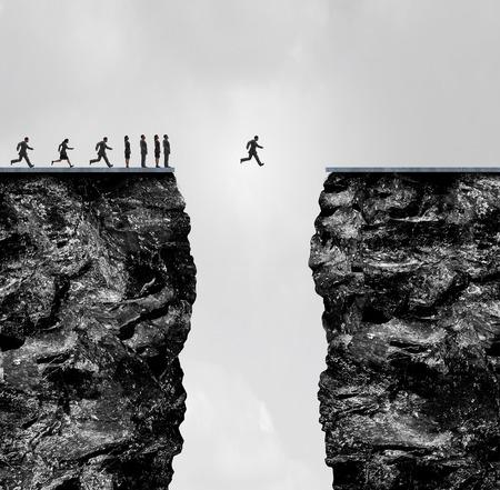 Negeer beperkingen concept een bedrijf metafoor voor ongelooflijke vertrouwen en vastberadenheid om te slagen in een 3D-afbeelding stijl als een groep mensen op een klif met een moedige individuele crosing het gat gestopt. Stockfoto - 66809598