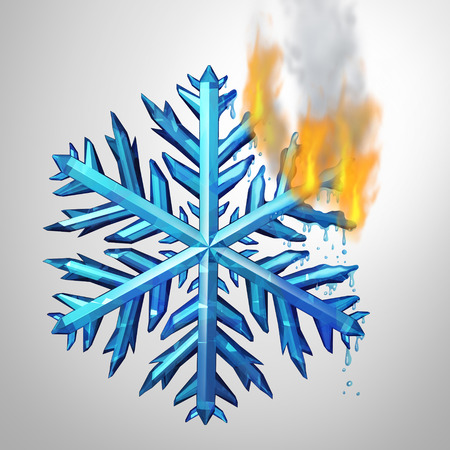 thawing: Changing climate concept as a frozen ice crystal snowflake melting and burning in flames as an environmental metaphor for changing weather temerature or global greenhouse effect as a 3D illustration.