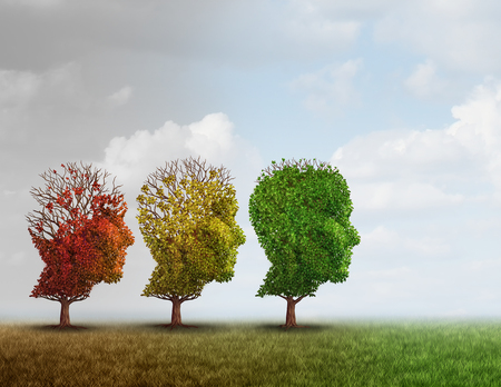 memories: Dementia treatment and Alzheimer brain memory disease therapy concept as old trees recovering as a neurology or psychology cure metaphor with 3D illustration elements.