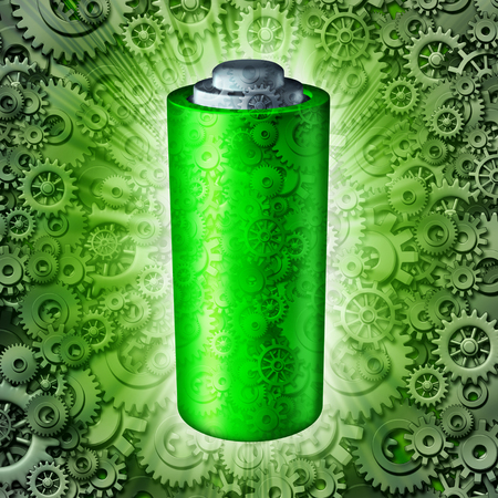 fuel storage: Battery technology symbol and rechargeable energy concept as a green clean electric fuel storage object with mechanical gears and cog wheels as a glowing power metaphor icon as a 3D illustration.