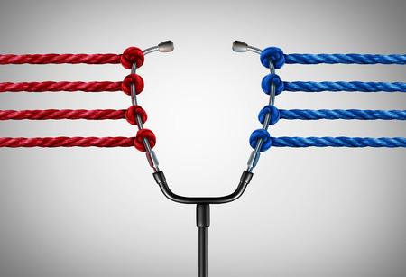 Medische politiek en hervorming van de gezondheidszorg uitdagingen of universele gezondheidszorg concept van de spanning als een groep van tegengestelde touwen te trekken op een arts stethoscoop als medicijn beheer symbool met 3D illustratie elementen. Stockfoto