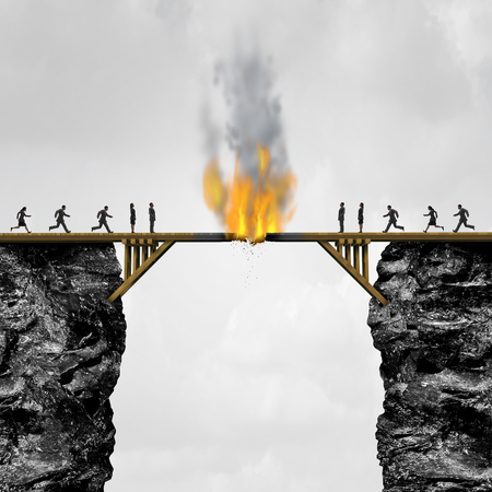 Burning bridge concept as groups of people divided by a wooden bridge on fire as a business connection risk metaphor for destroying a link or isolationism with 3D illustration elements.