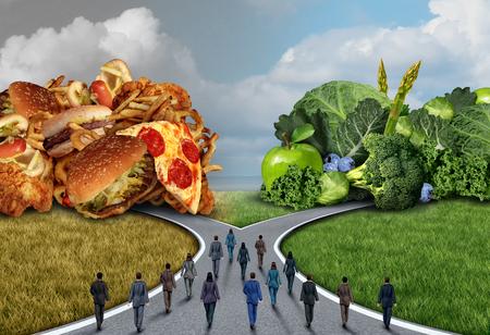 Société choix de régime alimentaire et mode de vie sain dilemme comme un groupe de personnes qui décident et choisissent de manger sain ou malsain comme un concept de remise en forme publique avec des éléments d'illustration 3D. Banque d'images - 66701173