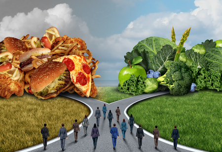 group fitness: Society food diet choice and healthy lifestyle dilemma as a group of people deciding and choosing to eat healthy or unhealthy as a public fitness concept with 3D illustration elements.