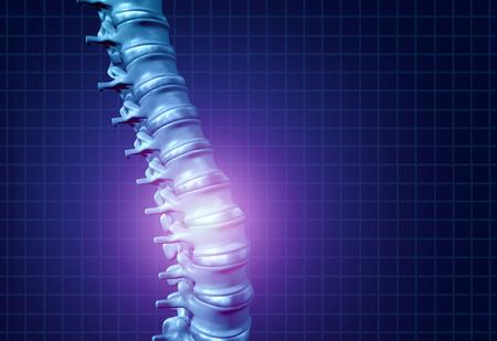 背中の背骨の痛みと脊椎健康医療医療概念として輝くハイライトで 3 D イラストレーションとして療法背骨や脊柱を示す骨格として人間の腰痛。 写真素材