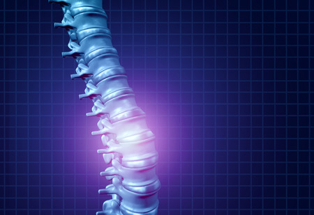 Back spine pain and human backache as a skeleton showing the spine and vertebral column in glowing highlight as a medical health care concept for spinal health and therapy as a 3D illustration.