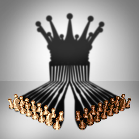 Concept of teamwork alliance and group leadership team and business organization idea as two sets of chess pieces joining working together united and as one in agreement to cast a shadow shaped as the crown of a king as a 3D illustration.