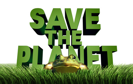 gree: Save the planet ecology protection and environmental message as text with a gree eco friendly frog in danger as a nature security metaphor with 3D illustration elements. Stock Photo