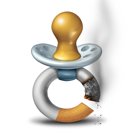 Parenting and smoking concept as a baby pacifier shaped as a it smoking cigarette as a dangerous second hand smoke habit symbol or carbon monoxide icon with 3D illustration. Reklamní fotografie - 70000800