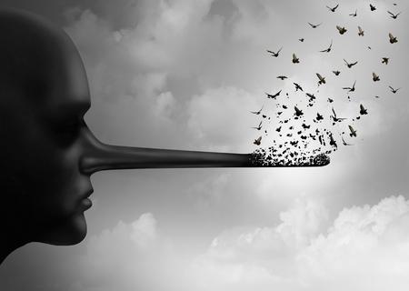Dejar de concepto de la corrupción o propagar mentiras símbolo como una persona con una nariz larga que está siendo sustituida por las aves que vuelan como una metáfora de la honestidad y la comunicación de rumores o el cambio de la verdad en un estilo de ilustración 3D.