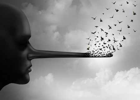 Zatrzymaj pojęcie korupcji lub rozłożenie kłamstwa symbol jako osoba z długim nosem, który jest zastępowany przez latające ptaki jako metafora uczciwości i komunikowania się plotki lub zmianę prawdy w 3D ilustracji stylu.