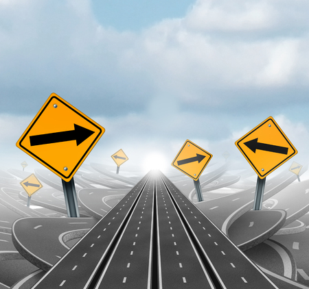 tangled roads: Many roads to success and clear group strategy and solutions for business leadership with straight multiple paths to success choosing the right strategic path with yellow traffic signs cutting through a maze of tangled roads and highways as a 3D illustrat