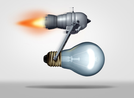 Creative focus concept as a jet or rocket engine moving a light bulb forward as a business motivation metaphor for creative speed success and quick delivery of ideas as a 3D illustration.