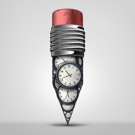 working hours: Time plan symbol and creative schedule development as an appointment and working hours management metaphor as a pencil made of a group of clock objects as a 3D illustration.