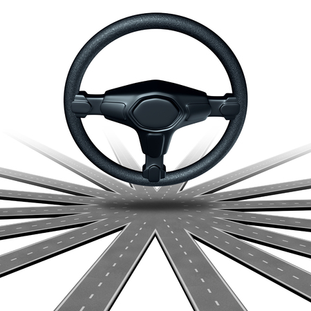 handsfree: Self driving car concept and autonomous road transport symbol or driverless automobile symbol as a steering wheel on a multiple direction highway as a future intelligent vehicle transportation technology as a 3D illustration.