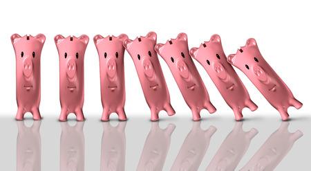 collapse: concepto de colapso financiero y el símbolo de crisis económica como un grupo de huchas cayendo como Domono piezas como un problema financiero y la metáfora riesgo de quiebra como una ilustración 3D. Foto de archivo