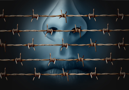 suppression: Concept of censorship and freedom of speech crisis symbol and suppression in expression of ideas icon as a human behind in old barbed wire as a metaphor for depression and social isolation in a 3D illustration style. Stock Photo