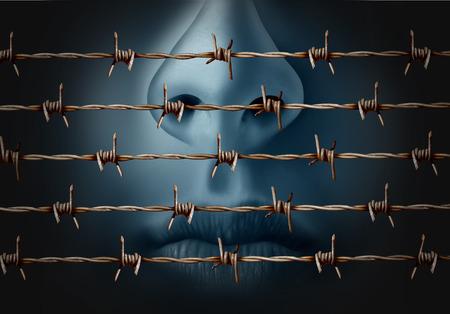 Concetto di censura e libertà di simbolo crisi discorso e la soppressione di espressione di icona idee come un essere umano dietro nel vecchio filo spinato come una metafora per la depressione e isolamento sociale in uno stile illustrazione 3D.