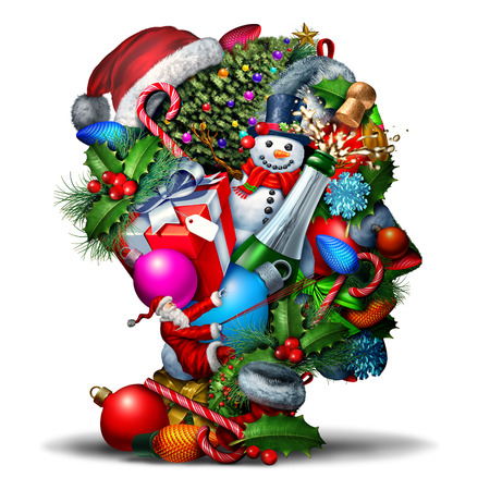 hat new year happy new year festive: Winter holiday head symbol as a group of christmas and new year celebration seasonal objects shaped as a human face profile as an icon for festive planning or stress and confusion during the holidays as a 3D illustration. Stock Photo