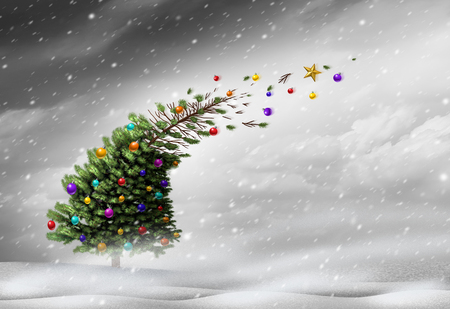 blown away: Concept of christmas holiday stress or winter blizzard storm as a christmas tree getting blown away by strong extreme weather winds with ornaments flying with 3D illustration elements.