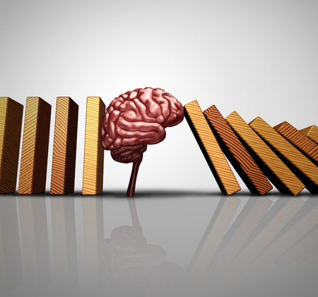 Thinking solution concept and creative innovation idea as a human brain stopping the fall of domino pieces as a psychology or mental health research success with 3D illustration elements.