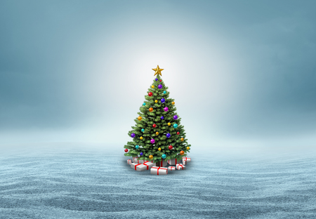 festive background: Christmas tree in a snow background with copy space as a festive winter holiday and new year greeting with 3D illustration elements. Stock Photo