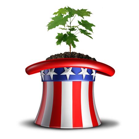 ganancias: Concepto de crecimiento de América e invertir en la idea de EE.UU. o de la seguridad social en América del símbolo como un árbol joven árbol que crece dentro de un sombrero temática, marca con elementos de ilustración 3D.
