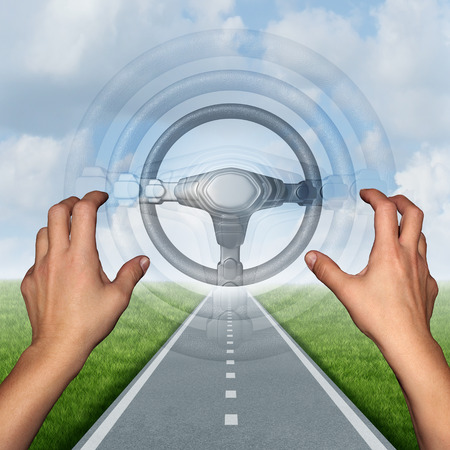 Autonomous driving concept and driverless automobile symbol as a driver on a road with hands off the steering wheel as a future intelligent transport technology with 3D illustration elements. Stock Photo