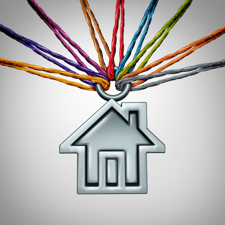 Community house concept and neighborhood group home support symbol as a diverse set of ropes holding up an icon of a family residence with 3D illustration elements. Banque d'images
