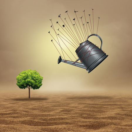 achievement concept: Team assistance concept as an organized achievement metaphor as a group of birds pulling a giant watering can towards a vulnerable tree stranded in a dry desert with 3D illustration elements.