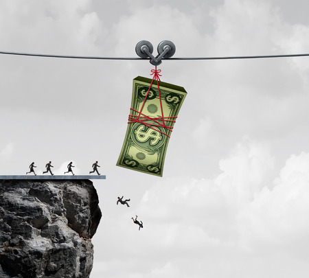 cash money: Money trap and business people or consumers taking the bait concept as financial victims of fraud as a metaphor for greed and economic risk with 3D illustration elements. Stock Photo