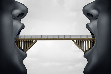 negotiator: Concept of building bridges as two people with opem mouth as a bridge connecte the two as a symbol for negotiaton or business agreement with 3D illustration elements.