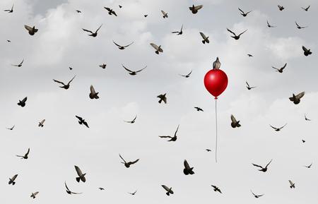 混乱 3 D 図の要素を持つ成功とリーダーシップのメタファーとして赤い風船に立ち上がり個々 の鳥で飛んでいる鳥のグループとしてイノベーション 写真素材