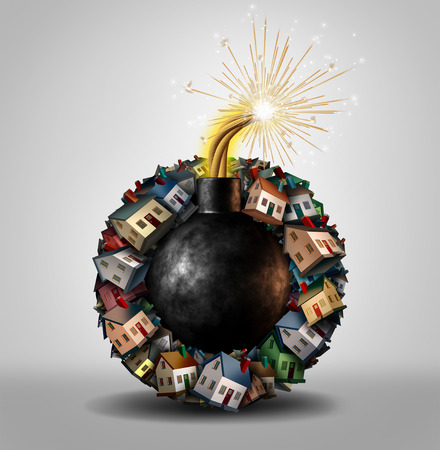 Vastgoedzeepbel concept en de opgeblazen huis of vastgoedmarkt als een groep van familie woningen in de vorm van een explosieve bom met een ontstoken lont als een 3D-afbeelding. Stockfoto