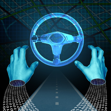 Autonomous driver technology concept and driverless automobile symbol as a digital driver with binary code on a road with hands off the steering wheel as intelligent transport computing with 3D illustration elements.